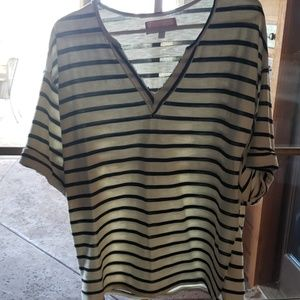 Anthropology Striped Cream and Black Top